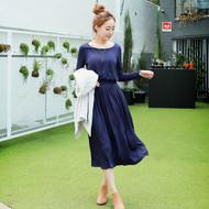 Plain Pocket Pleated Maxi Dress