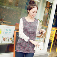 Elegance Lace Stitching Sleeve Tweed Top