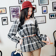Gray Plaid Lace Stitching Blouse