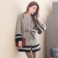 Gray Striped Wool Coat