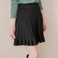 Lotus Leaf Trim Knit Pleated Skirt