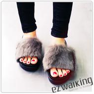Faux Fur Wedge Slipper