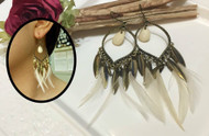 White Feather Drop Earrings