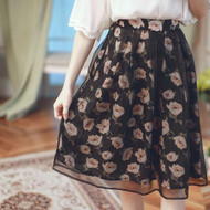 Floral Knee Length Gauze Skirt