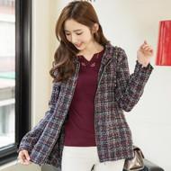 Zip Front Tweed Wool Coat