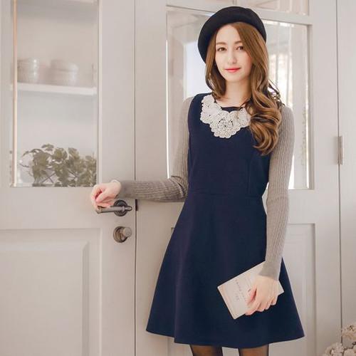 Beaded Lace Stitch Wool Dress