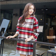 3/4-Sleeve Plaid Mini Shift Dress