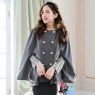 Breasted Hooded Cape Coat
