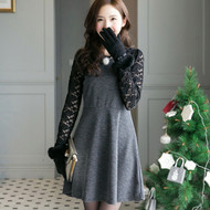 Lace Sleeve Stitching Dress