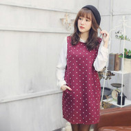 Stitching Polka Dots Long Sleeve Round Collar Dress