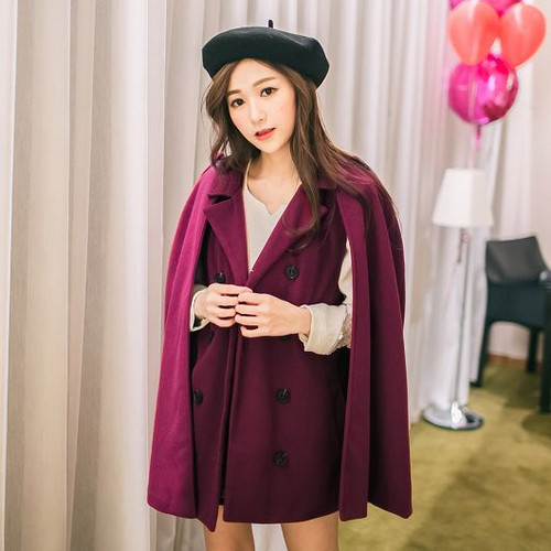 Breasted Wool Cape-Style Coat