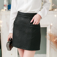 Quilted Faux Leather Skirt‎
