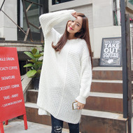 Round Neck Drop Shoulder Sweater Dress