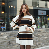 Drop Shoulder Striped Mini Knit Dress