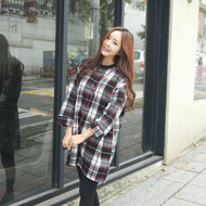 Crew Neck Plaid Shift Dress