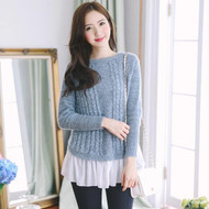 Chiffon Stitching Cable Knit Sweater