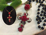 Red Rose Cross Pendant with Black Beads Necklace