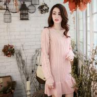 V Neck Cable Knit Dress