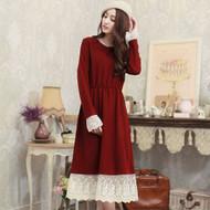 Lace Stictching Wool Maxi Dress