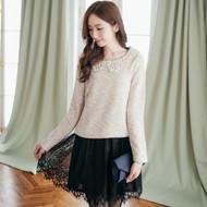Lace Collar Knit Stitching Dress
