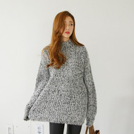 Turtle Neck Wool Blend Pointelle Knit Sweater