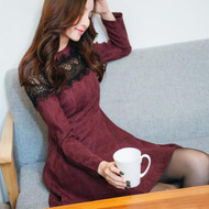 Wine Color Lace Stitching Long Sleeve Dress