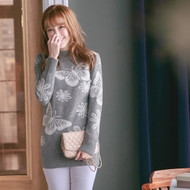 Butterfly Print Knit Sweater