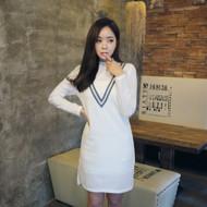 Mock Neck Contrast Trim Knit Shirt Dress
