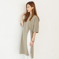 Short Sleeve Slit Front Long T-Shirt