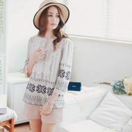 Lace Stitching Long Sleeve Printed Shirt
