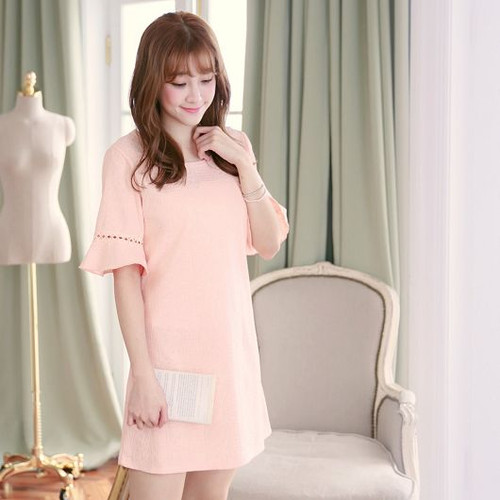 Lotus Sleeve Embroidered Lace Dress