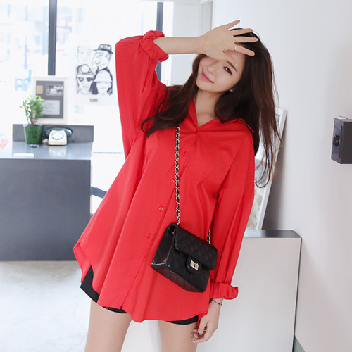 Balloon Sleeve Round Hem Shirtdress