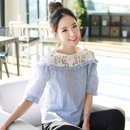 Lace Stitching Striped Short Blouse