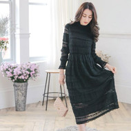 Turtleneck Lace Maxi Dress