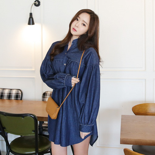 Balloon Sleeve Denim Shirt Dress