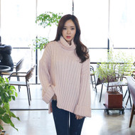Turtle Neck Loose Fit Ribbed Knit Top