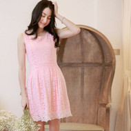 Plain Color Lace Sleeveless Dress