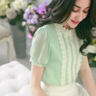 Decorative Ribbon Lace Chiffon Blouse