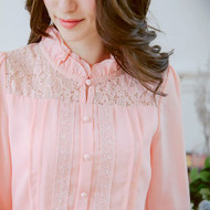 Lace Stitching Crimp Chiffon Blouse