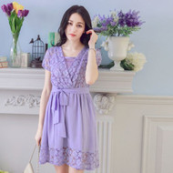 Bandage Chiffon Lace Stitching Dress