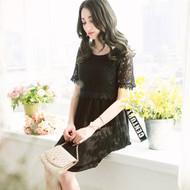 Hollow Lace Pleated Chiffon Dress