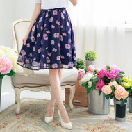 Flower Print Knee Length Skirt