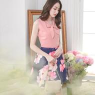 Neckline Bandage Flower Dress