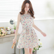 Flower Print Sleeveless Dress