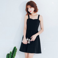 Plain Umbrella Sleeveless Dress