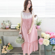 Drawstring Waist Lace Maxi Dress