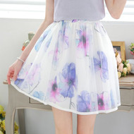 Umbrella Flower Print Skirt