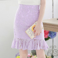 Openwork Lace Stitching Lotus Leaf Skirt