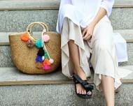 Handmade Wool Ball Tassels Straw Bag
