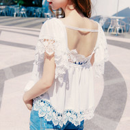 Square Neckline Lace Blouse